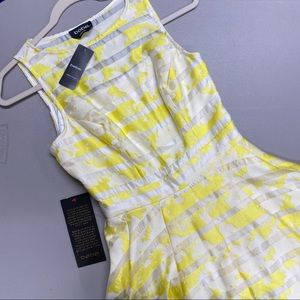Bebe Dress Floral Yellow White Stripe Fit & Flare
